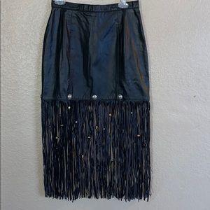 Dangerousthreads leather fringe western boho skirt